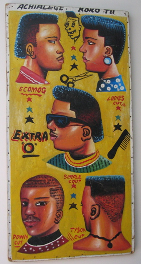 african barber signs hair