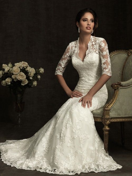 Nice wedding dress for an older bride - woman over 40 or 50 ...