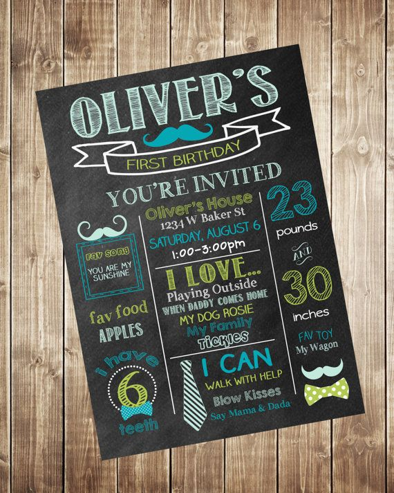 mustache first birthday chalkboard invitation bow tie 1st birthday
