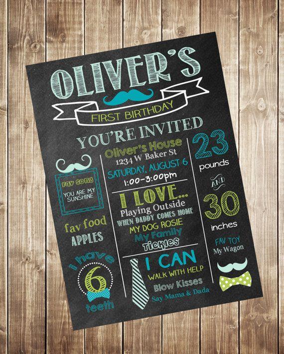 Mustache First Birthday Chalkboard Invitation  Bow Tie St