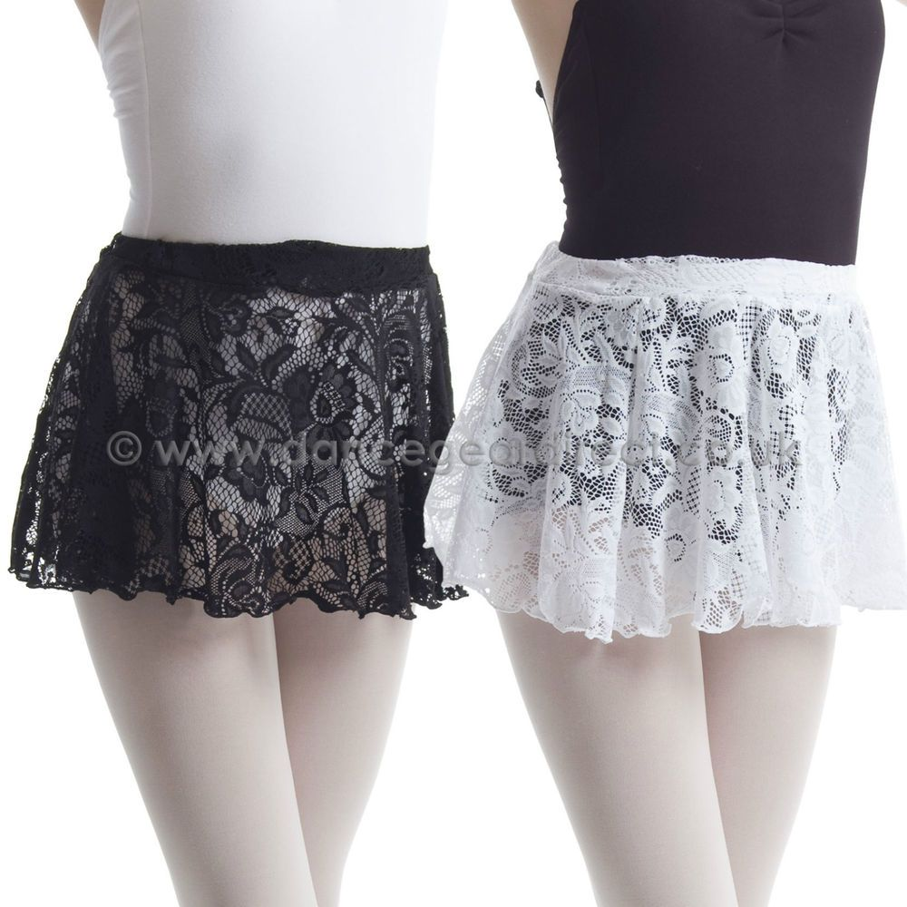 Ladies Ballet Dance Short Mini Circular Skirt Lace Pull-on Elasticated Cover Up