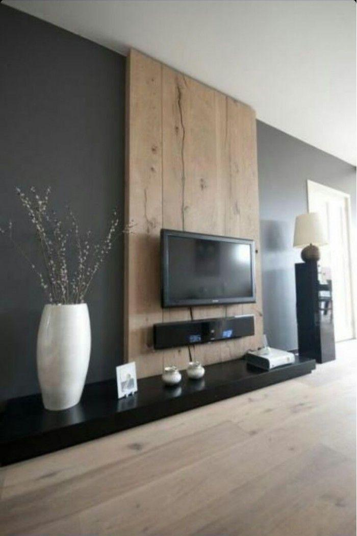 muur met houten wanden  Google zoeken  Woonkamer  Tv