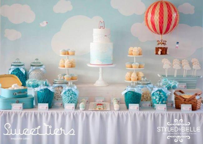 boys hot air ballon themed christening dessert table www
