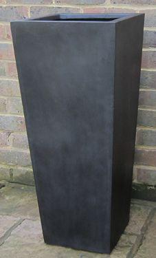 polystone and stone fibre pots planters and troughs black white rh pinterest com