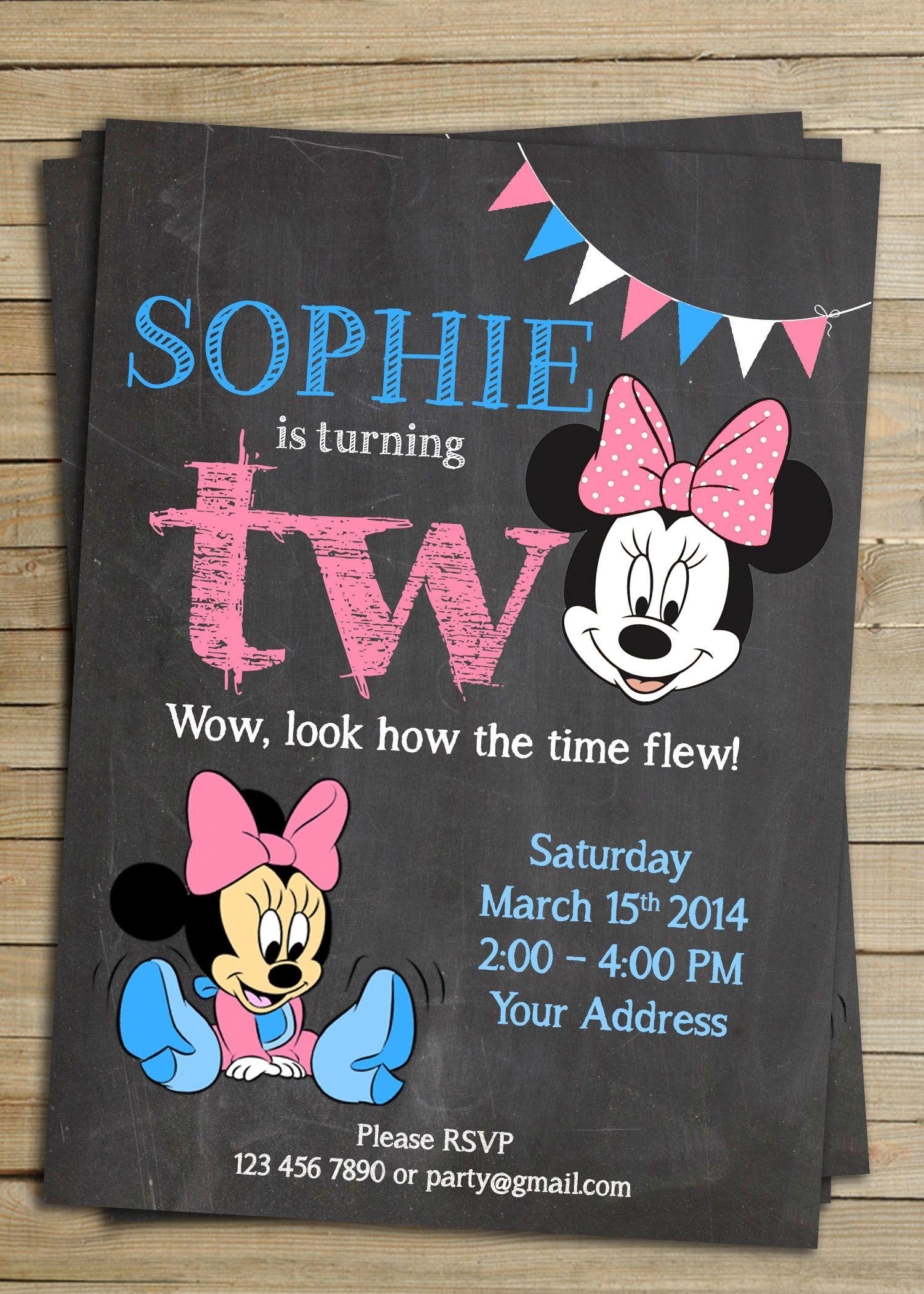 birthday party invitations printable%0A Minnie mouse chalkboard birthday party invitation