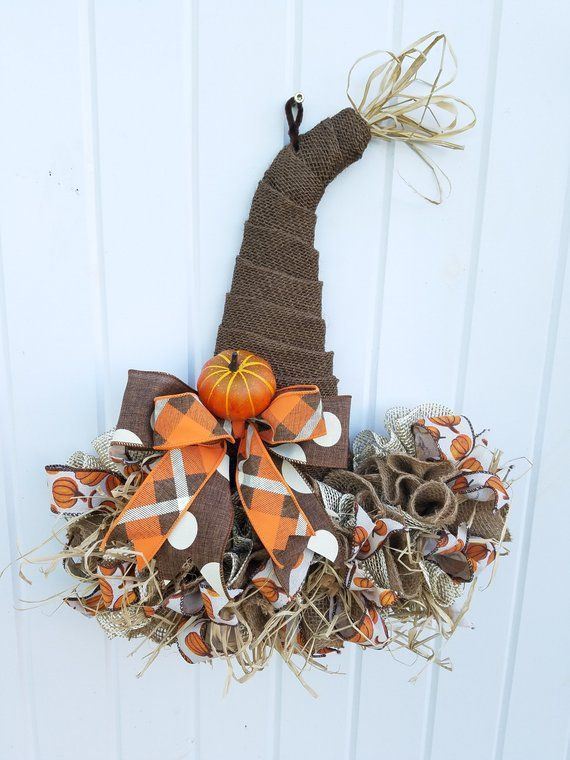 Scarecrow Hat, Fall Decor, Autumn Decor, Fall Door Decor, Fall Decorations, Fall Door Hanger, Autumn Door Hanger, Scarecrow door hanger #scarecrowwreath