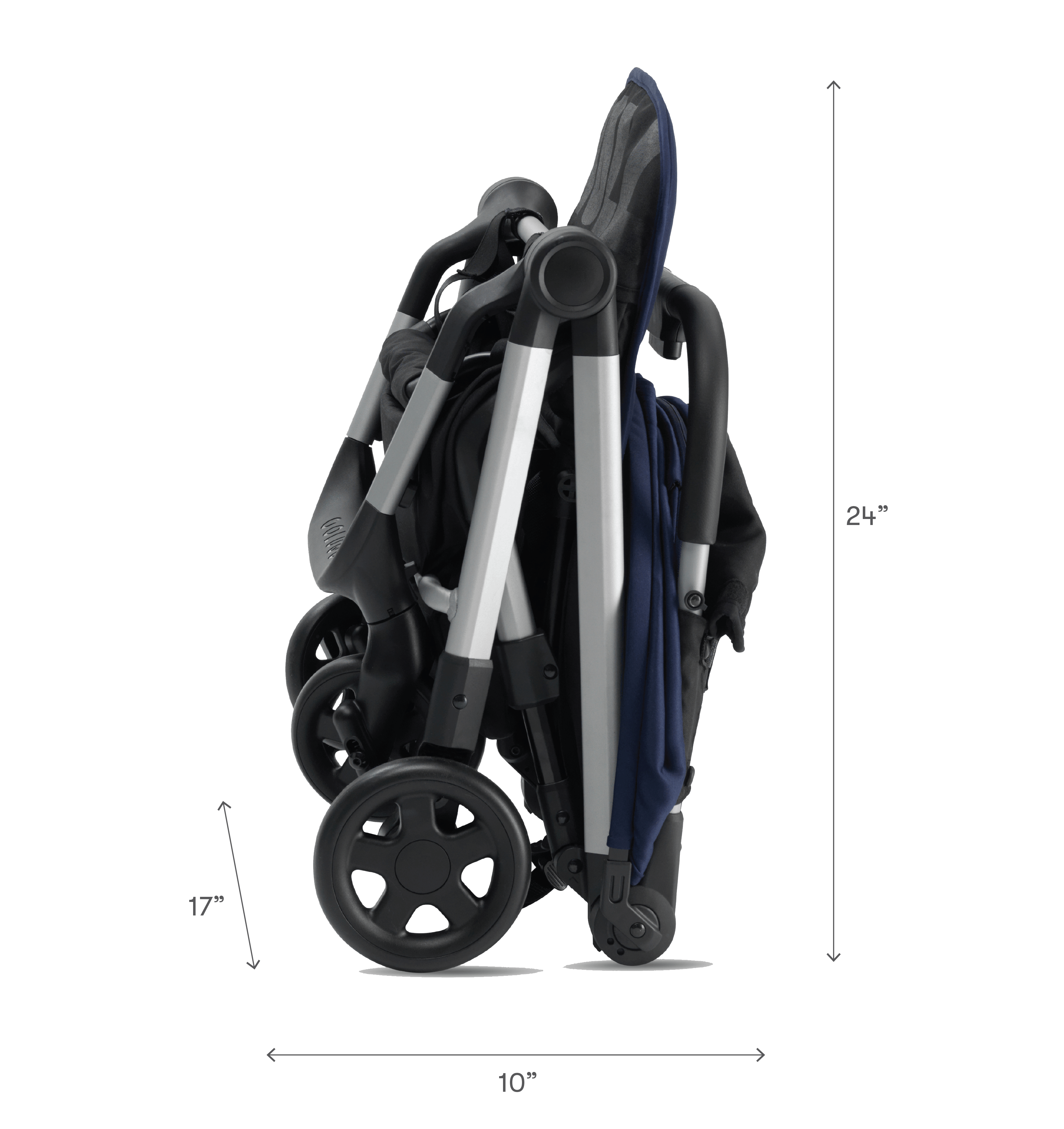 The Compact Stroller Navy Compact, Baby safe, Folded up