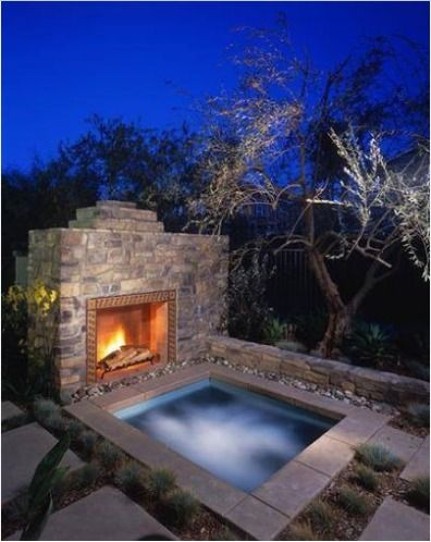 this is awesome hot tub next to a fireplace oh ya outdoor ideas rh pinterest com