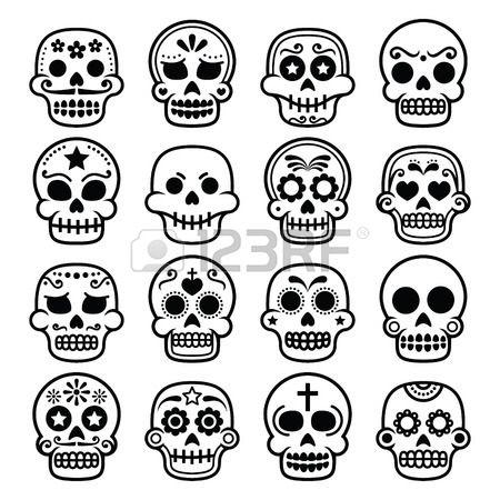 Halloween Calavera De Azucar Mexicana Dia De Los Muertos Iconos De Dibujos Animados Dibujos Sugar Skull Tatuajes De Calaveras Mexicanas Dibujo Dia De Muertos