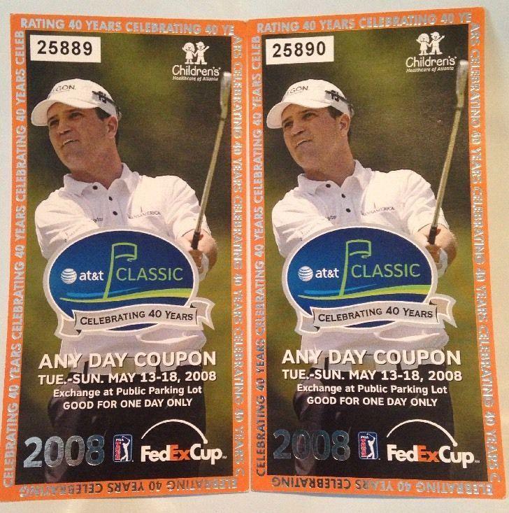 2 Unused Tickets 2008 PGA AT&T Classic Zach Johnson Image
