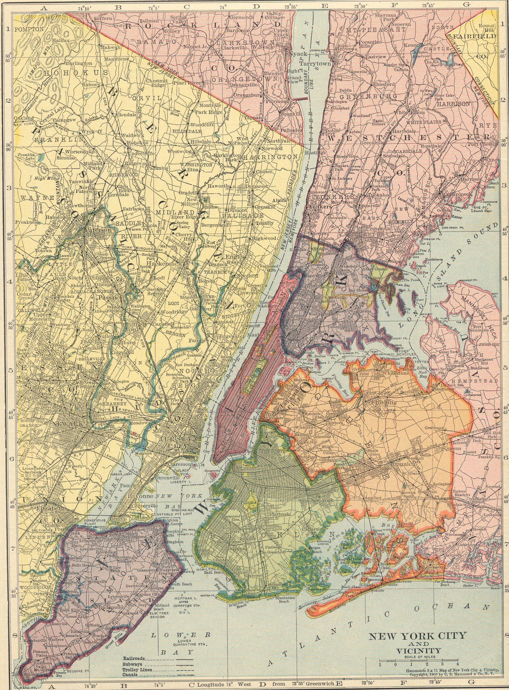 Geography of New York City 1906NYCvicinitymapjpg 16232200