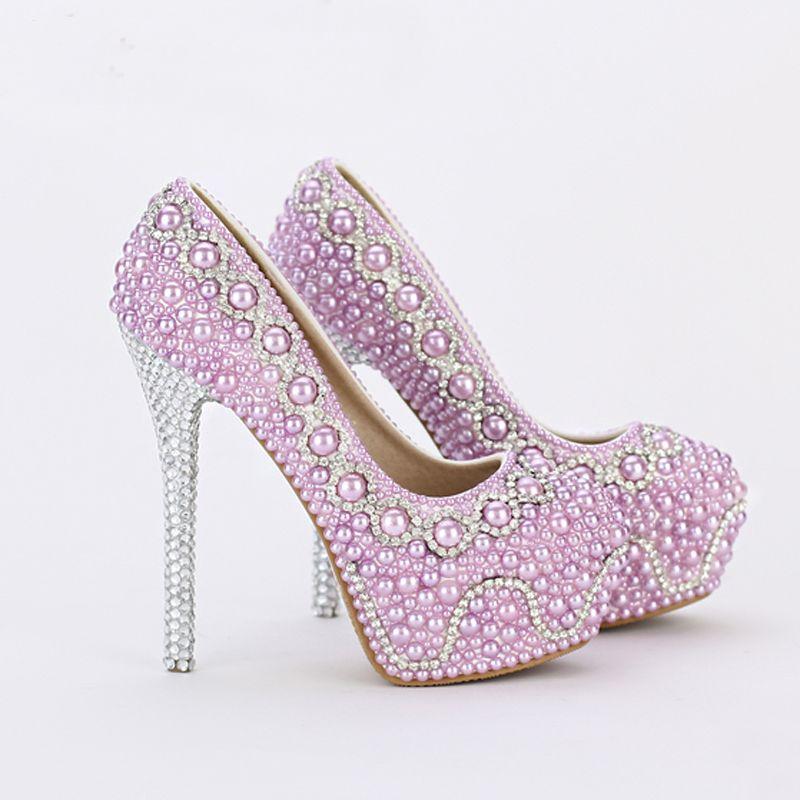 6a7af8b538b1a Purple Wedding Shoes For Bride 2016  Aliexpress com Buy 2016 New Handmade  Fashion Purple Pearl