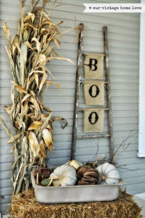 Halloween decor, bench, mums, flowers, hay, Outdoor living, pillows - decorating front door for halloween