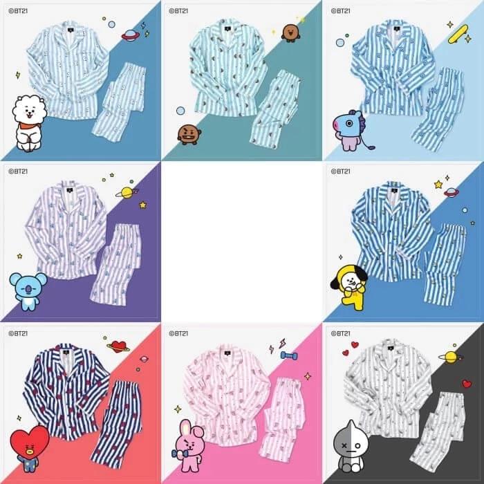 Bts Bt21 Line Friends Pajamas 7 Types Bts Merchandise Discount