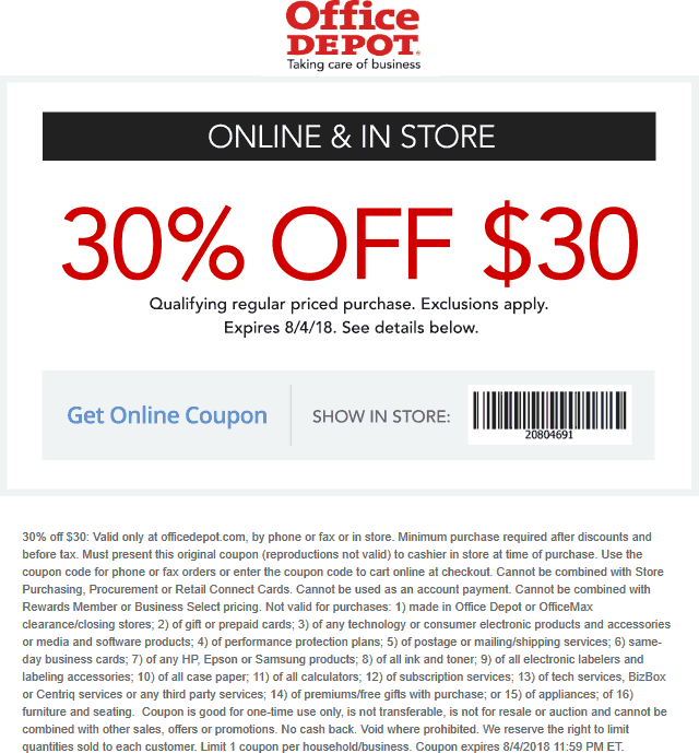 Pinned August 4th 30 Off 30 Today At Officedepot Or Online Via Promo Code 20804691 Thecouponsapp Shopping Coupons Online Coupons Coupon Apps