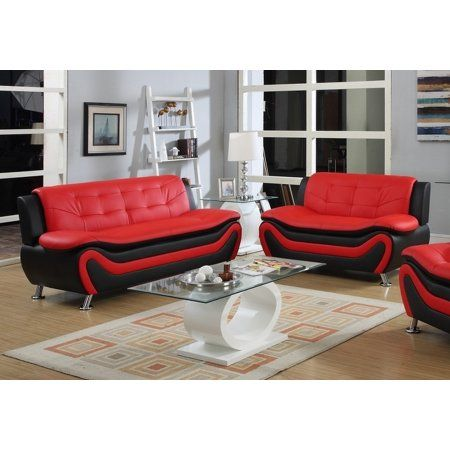 frady 2 pc black and red faux leather modern living room sofa and rh pinterest com mx