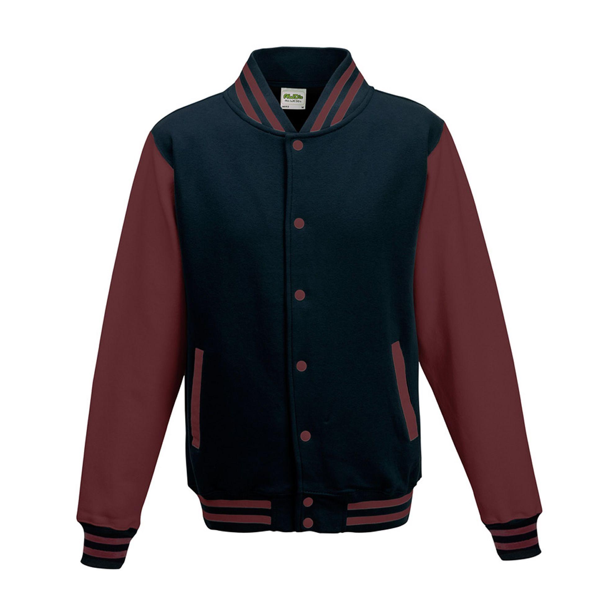 3XL Jet Black // White Awdis Unisex Varsity Jacket