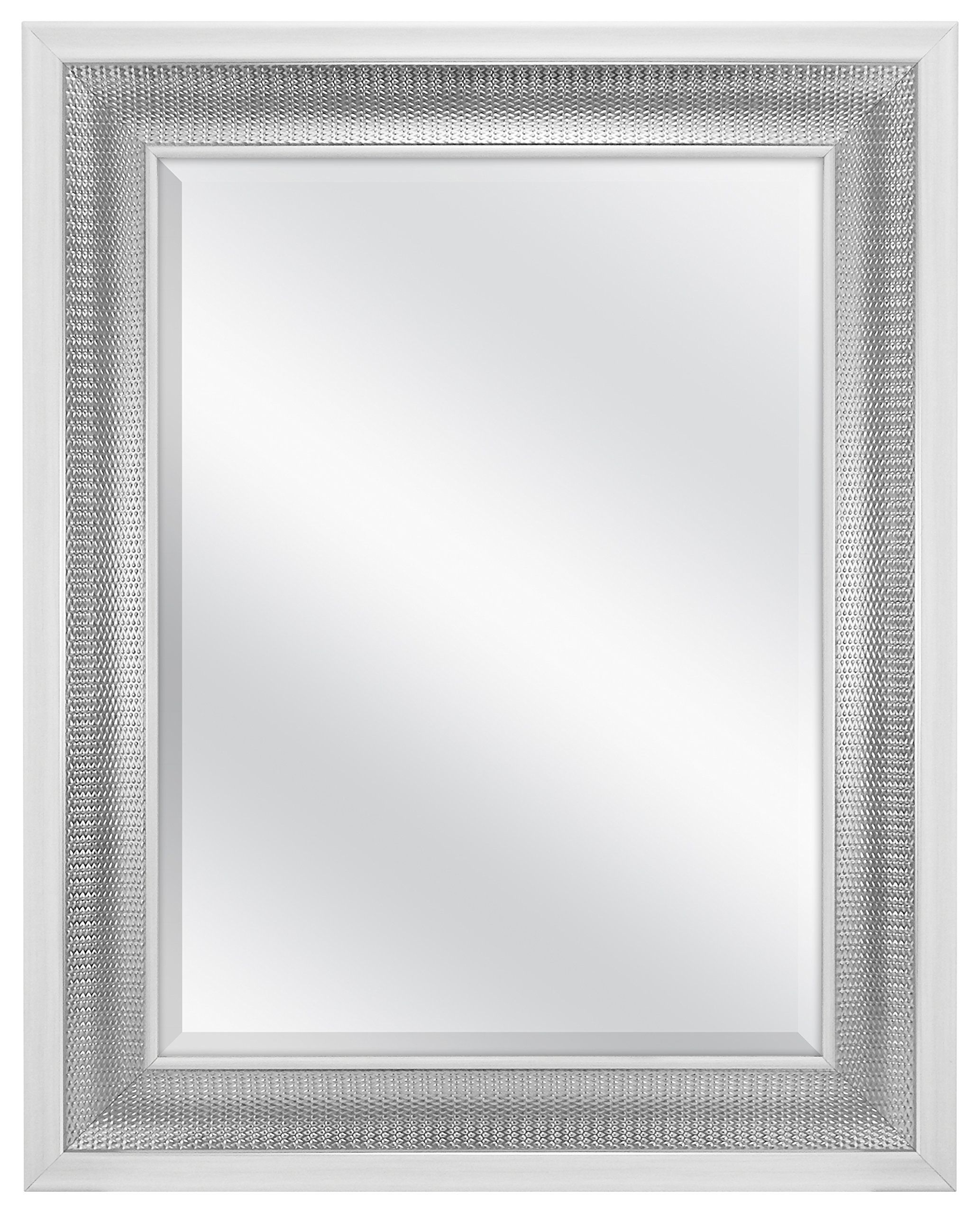 Mcs 18x24 Inch Beveled Wall Mirror White Woven Silver 83041 Mirror Reflection Size Is 18x24 Inches Mirror Includes Mirror Wall Mirror Framed Mirror Wall [ 2560 x 2067 Pixel ]