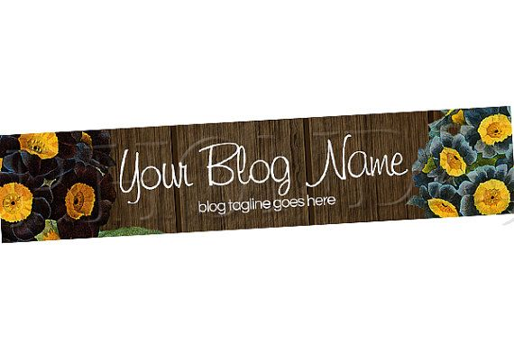Blog Header Banner Design Floral Ps8 By Rhondasblogshop On Etsy