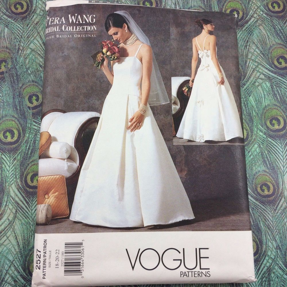 Vera Wang Wedding Gown Dress Pattern Vogue 2527 Uncut Sz 18-22 ...