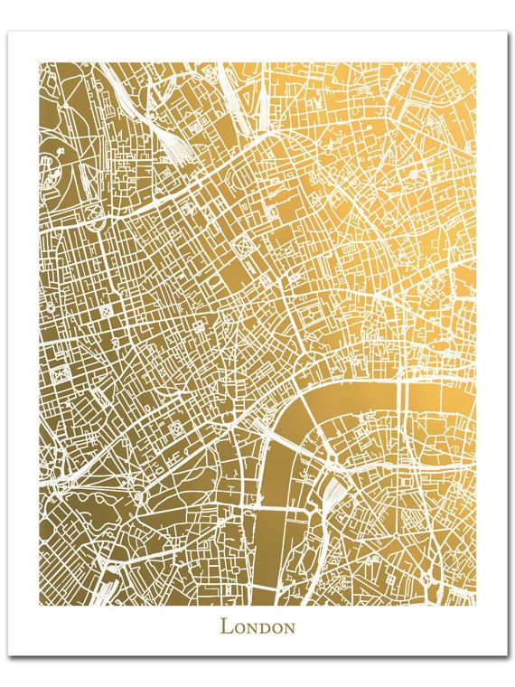 This Listing Is For A Genuine Gold Foil Street Map Of