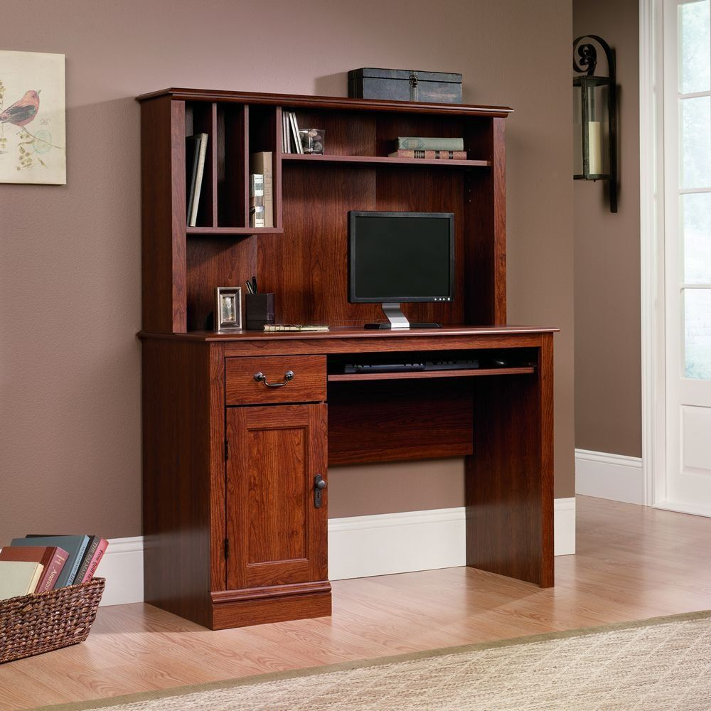 sauder camden county computer desk with hutch planked cherry finish rh pinterest it
