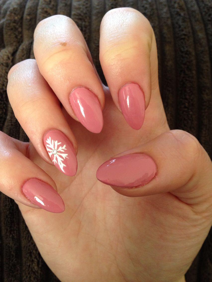 Dusky pink nails ❤️ xxx #almond #snowflake #pink