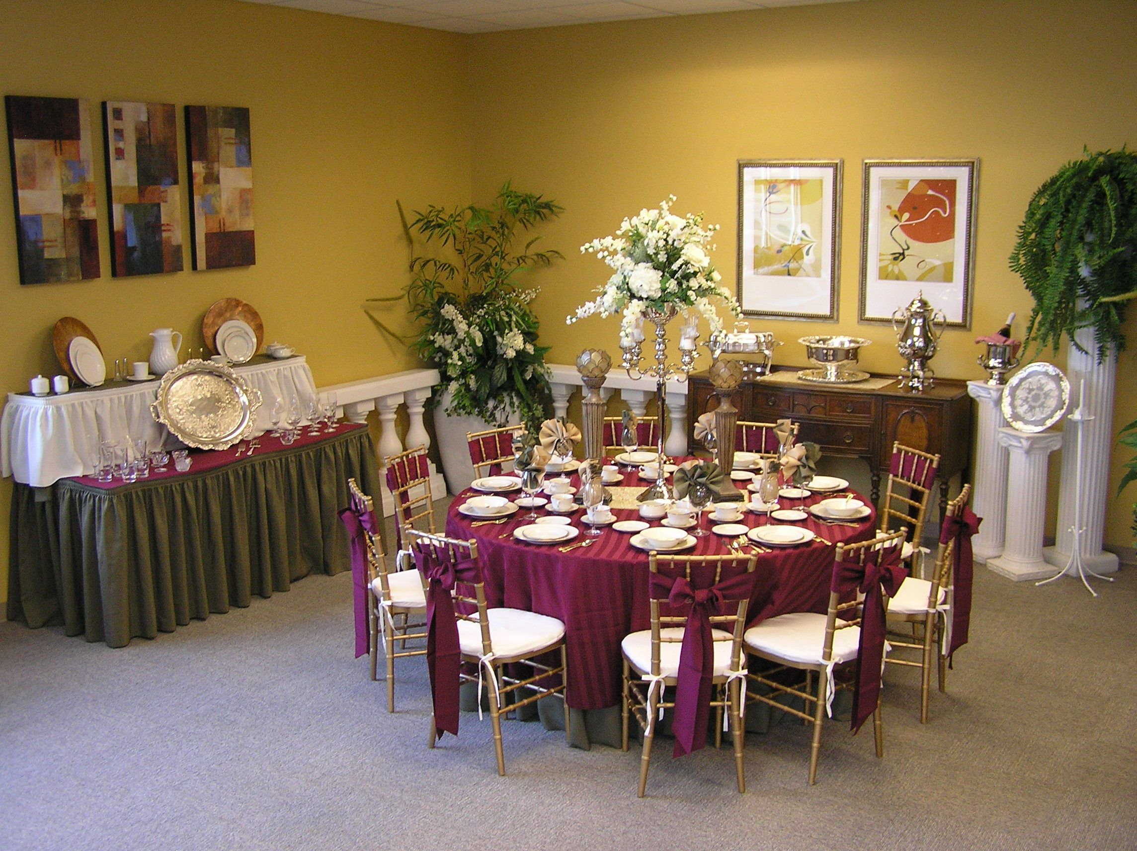 long table setup wedding reception%0A This elegant table set up incorporates our Gold Chavari Chairs  Maroon  Linens  Gold Flatware