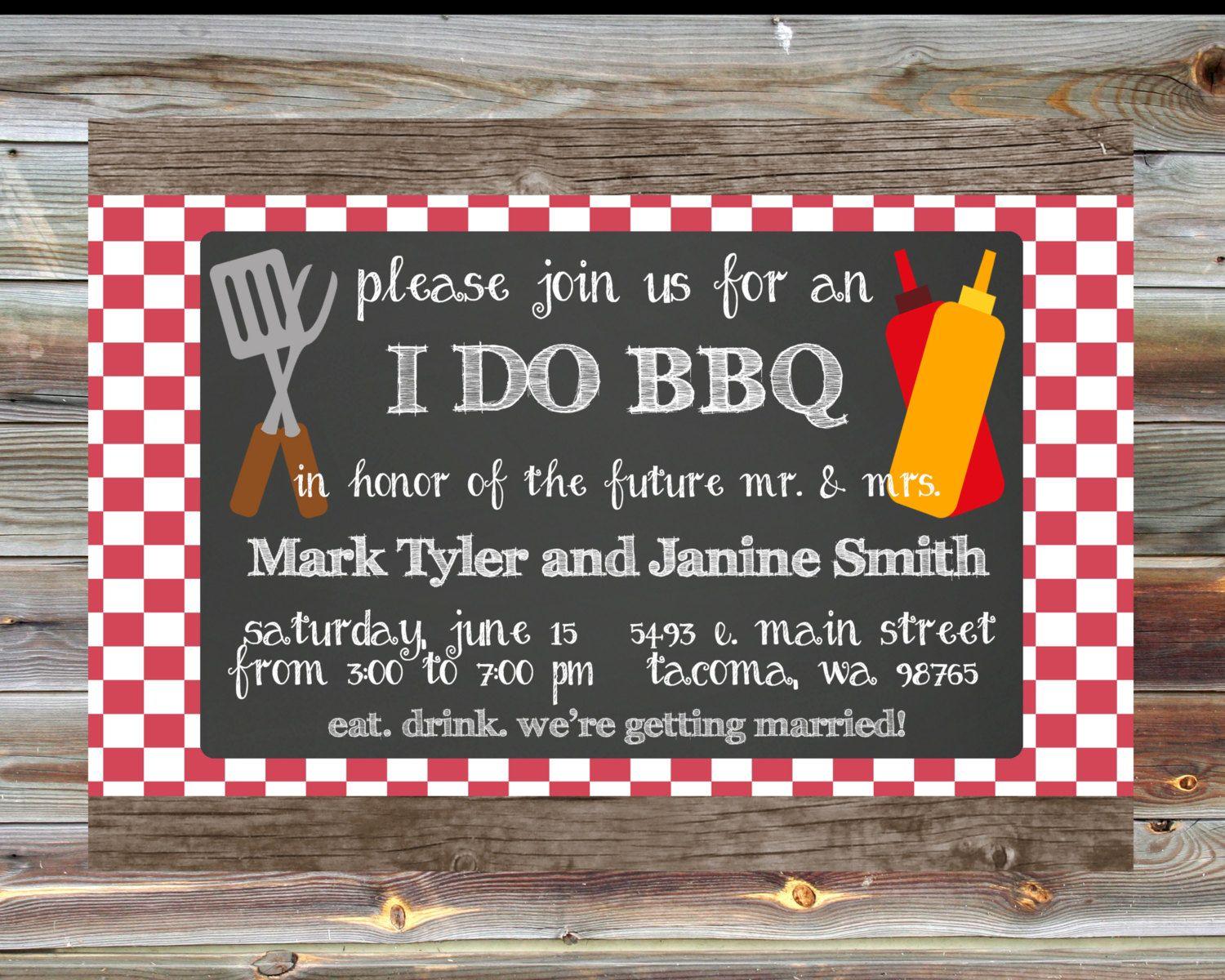 bridal shower invitation pictures%0A Personalized Custom I Do BBQ Couples Shower Invitation  I Do BBQ Red Plaid  Invite