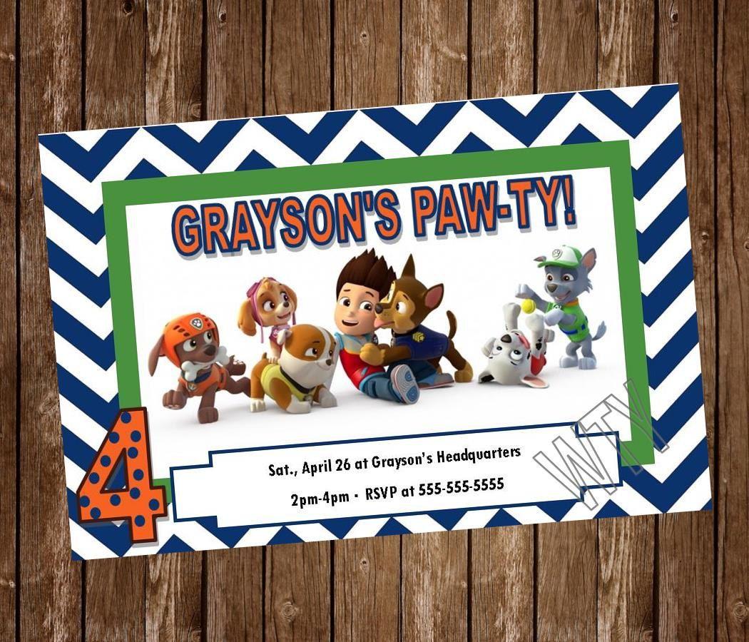 disney princess party invitation templates%0A DISNEY PAW PATROL Invitation Card free by WillowTreeYarnery