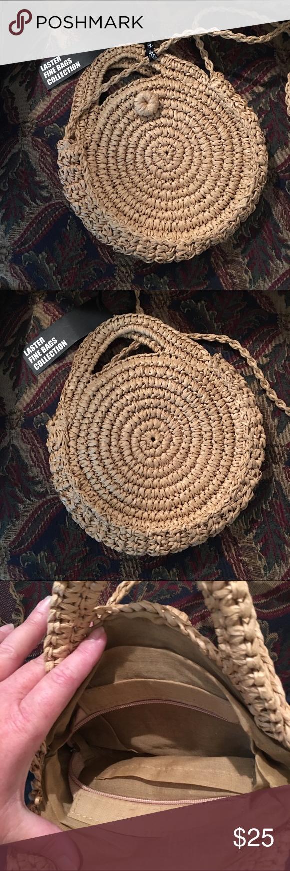 """a6c84b4b958 Laster 12"""" Round Straw shoulder bag ✨B2G1F✨ Laster 12"""" round straw shoulder  bag crossbody, fabric interior, NWT. ✨B2G1F✨ Laster Bags Shoulder Bags"""