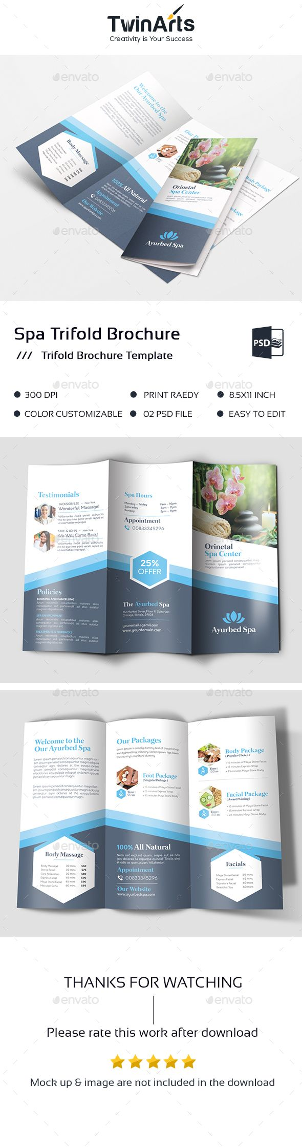 Template Spa Trifold Brochure Spa Trifold