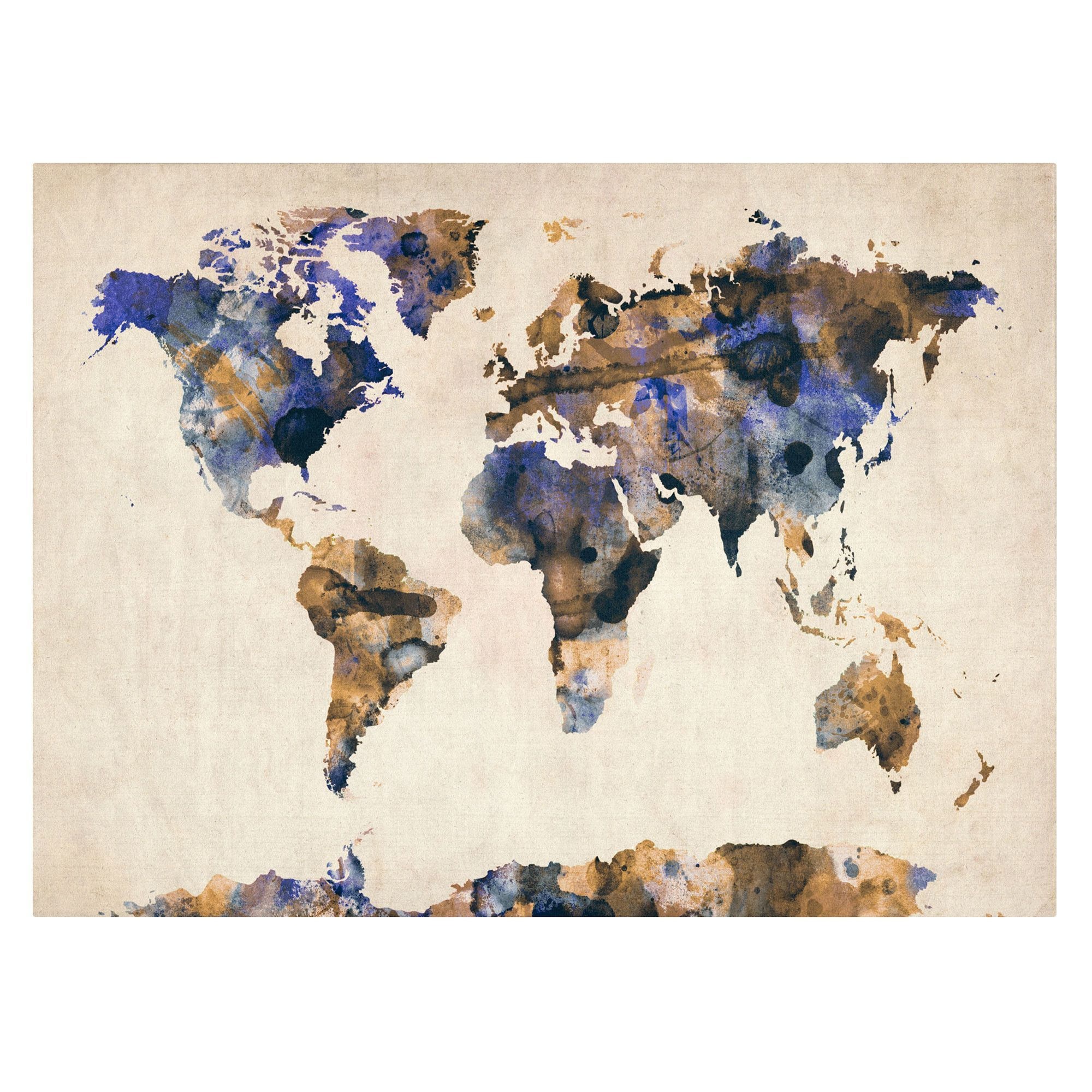 Pau Map%0A   World Map Urban Watercolor   by Michael Tompsett Painting Print on Canvas
