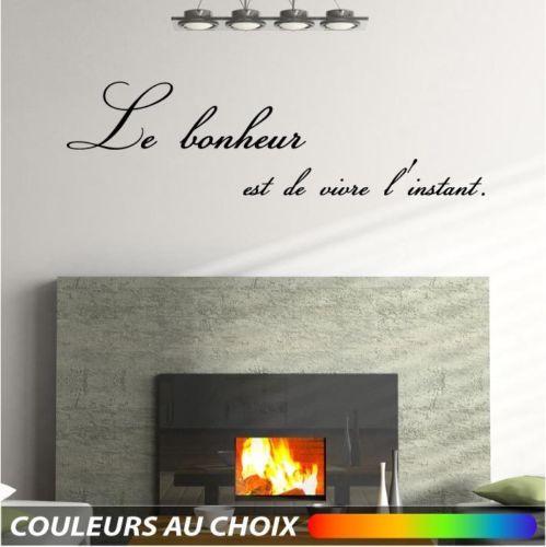 Sticker mural texte phrase citation bonheur 110cm muraux