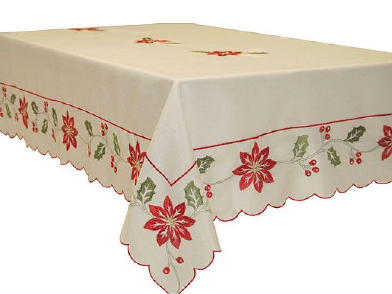 Mantel de navidad bordado con la flor de pascua sobre tela - Manteles de navidad ...
