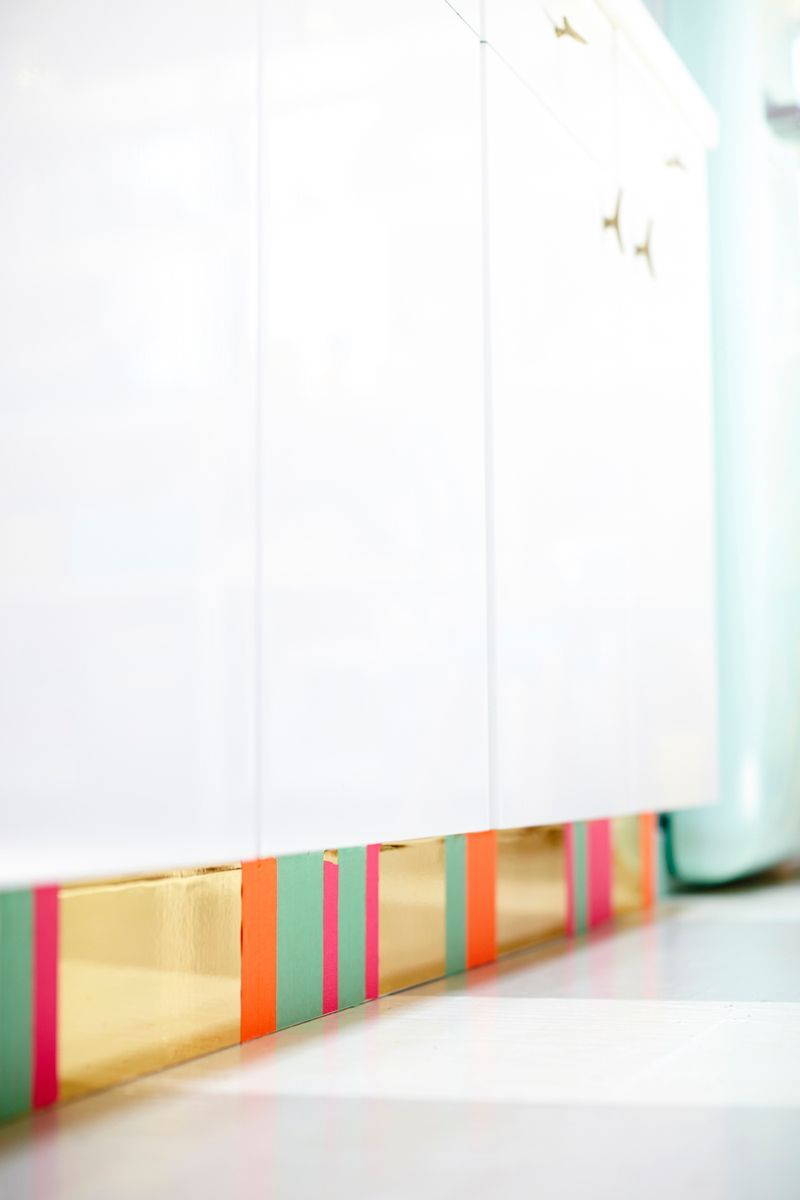 Kick Plates For Cabinets An Easy Way To Diy A Cabinet Toe Kick With Contact Paper And Tape
