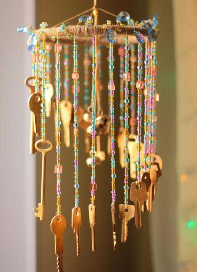Diy Beaded Wind Charm For Home Decor Mobiles Diy Wind Chimes