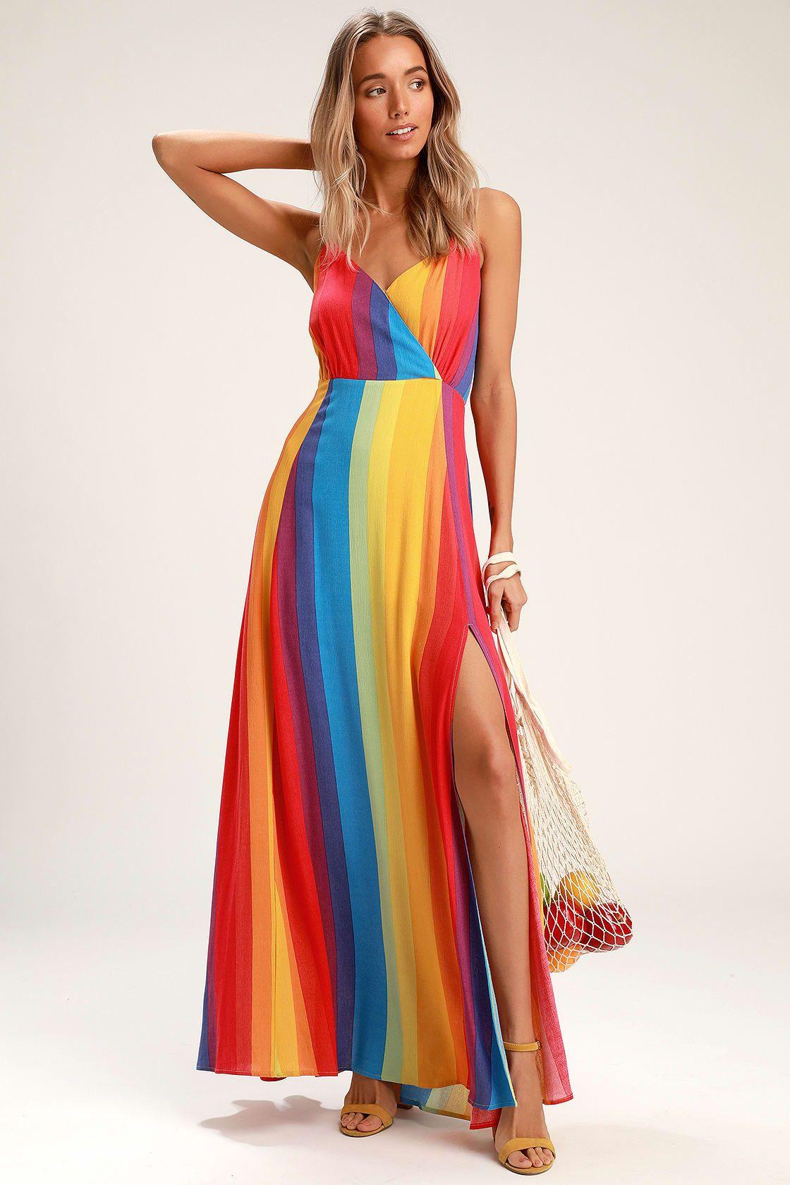 Lafern Rainbow Striped Sleeveless Maxi Dress Rainbow Dress Maxi Dress Dresses [ 1680 x 1120 Pixel ]
