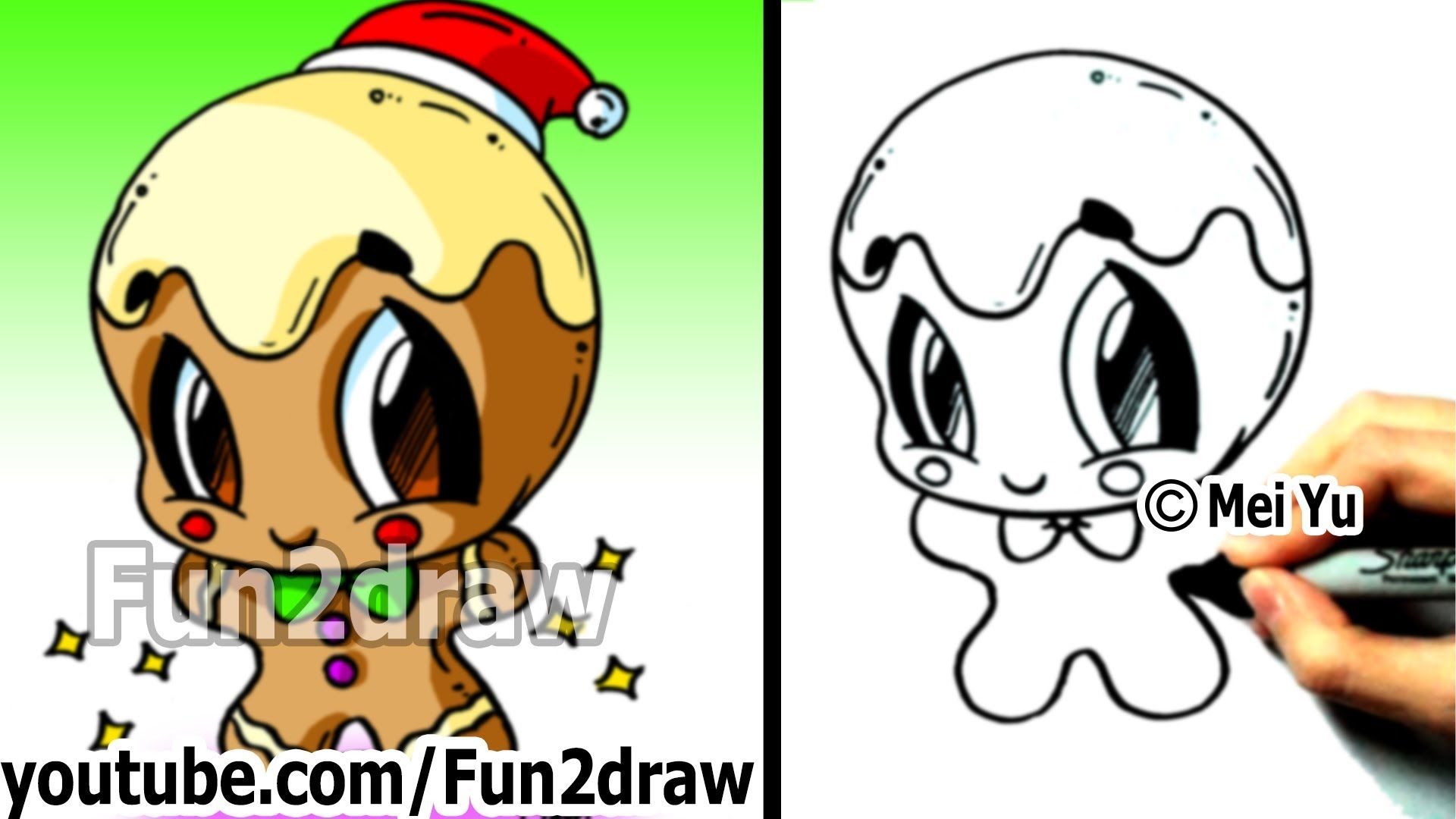 Cute Christmas Drawings.How To Draw Christmas Pictures How To Draw A Gingerbread