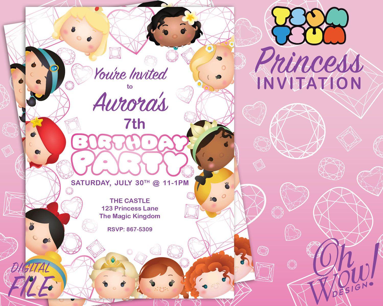 Tsum Tsum Ideas Para Fiestas: Tsum Tsum Princess Party Invitation By OhWowDesign On Etsy