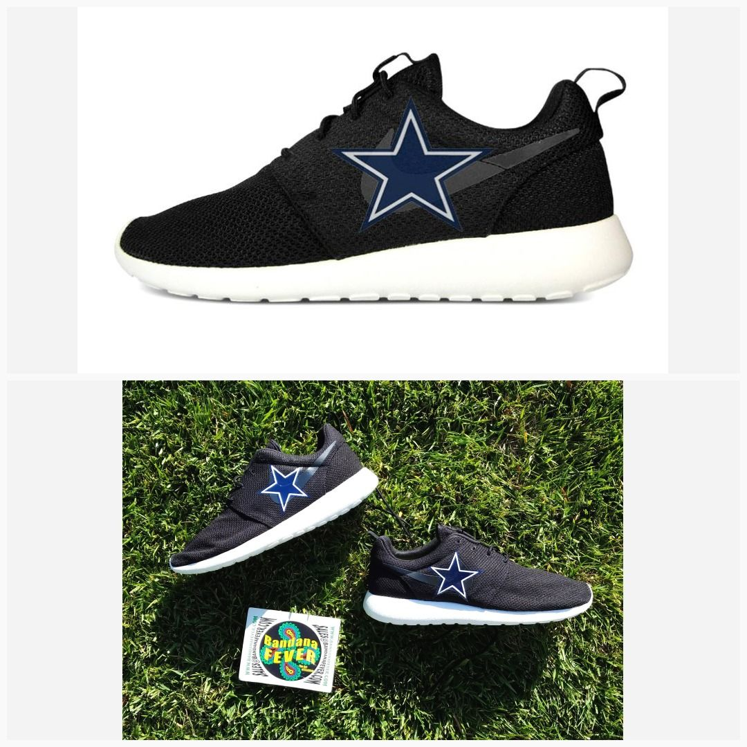 020f95c84aa9 Bandana Fever Dallas Cowboys Print Custom Black Nike Roshe Shoes   cowboysnation  howboutthemcowboys  thecowboysnetwork
