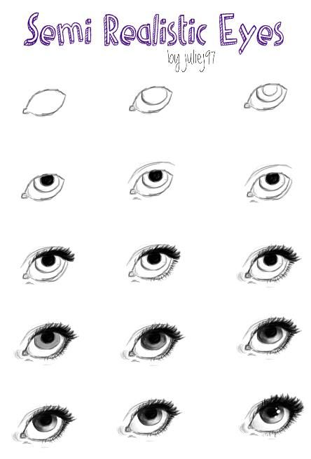 how i draw semi realistic eyes by juliej97 on deviantart art