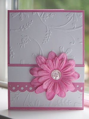 Embossed Any Occasion Card With Flower Embellishment Simply