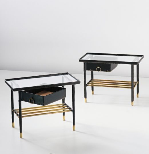 Buy Antiqued Glass Coffee Table Gun Metal Base At Fusion: Jacques Adnet; Brass, Glass And Leather-Bound Oak & Metal