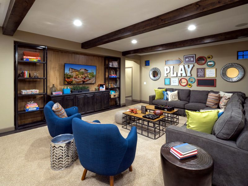 A great space for the kids to hang out with their friends for Kid friendly family room design