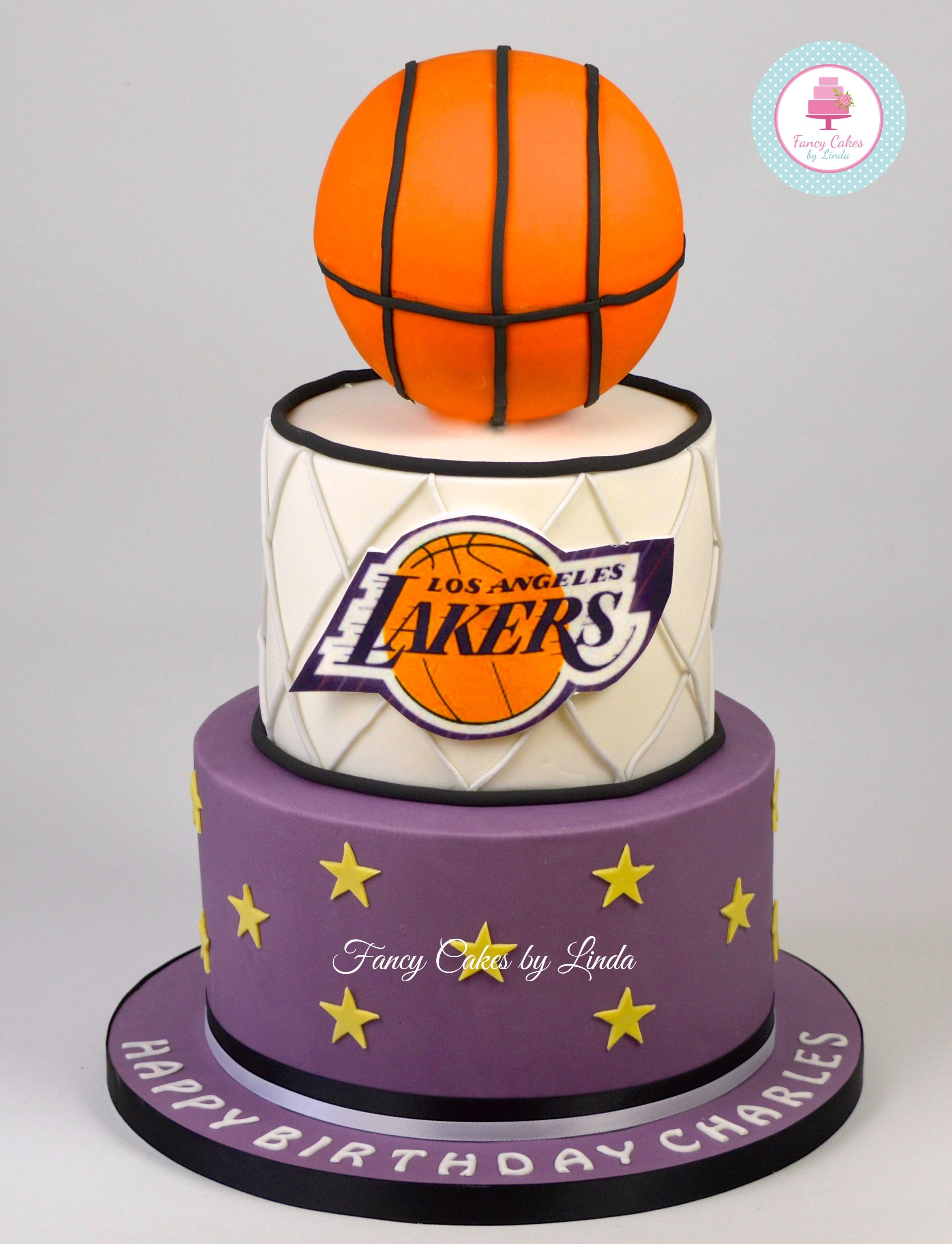 Awe Inspiring Basket Ball La Lakers Themed Birthday Cake 07917815712 Funny Birthday Cards Online Sheoxdamsfinfo