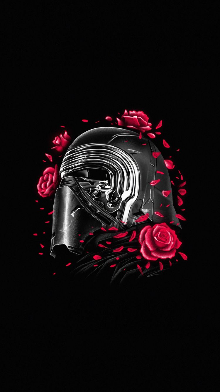 750x1334 Kylo Ren Helmet And Roses Star Wars Minimal Wallpaper Star Wars Background Star Wars Artwork Star Wars Wallpaper Iphone