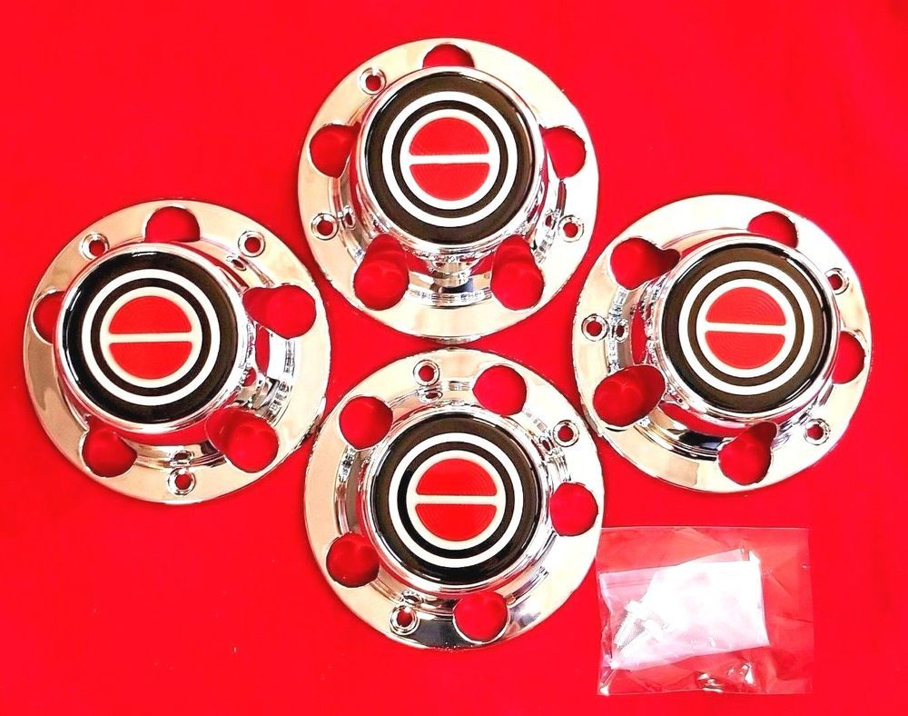 1980 1996 Ford F150 Bronco Van Chrome Wheel Hub Center Caps Red Center 4 Pcs Ebay Ford F150 Chrome Wheels 1996 Ford F150