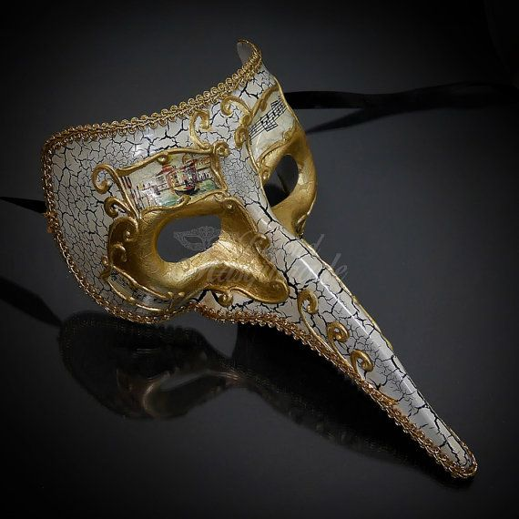 Men/'s Silver Long Nose Masquerade Mask The Plague Doctor One Size Venetian NEW