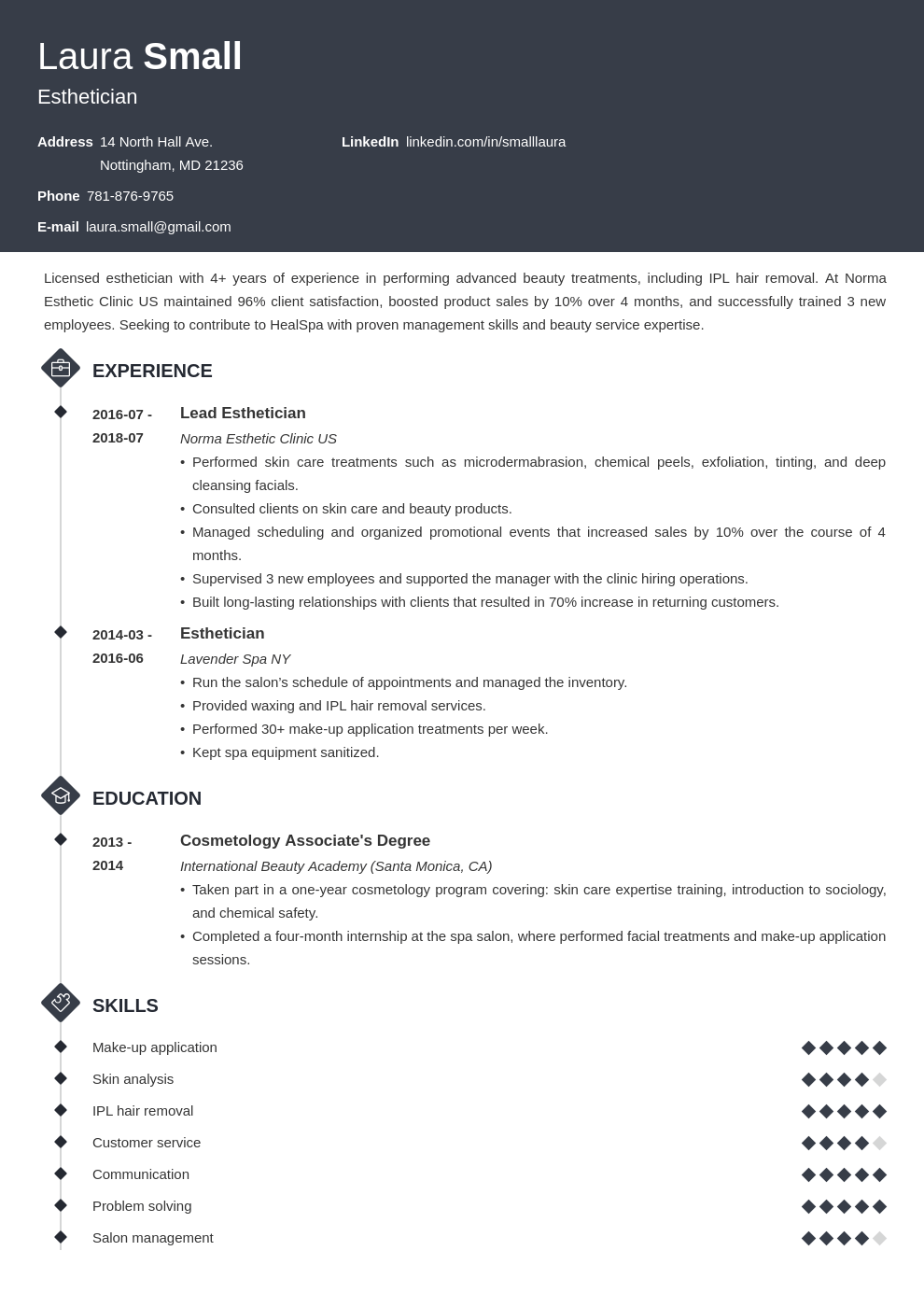 esthetician resume example template diamond in 2020